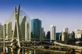 Photo of Sao Paulo City, with a cable-stayed bridge.